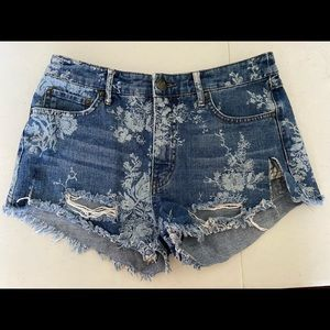 Free People Floral Distressed Cut Off Denim Shorts